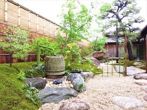 蹲踞の石なども元の庭にあった物を再活用