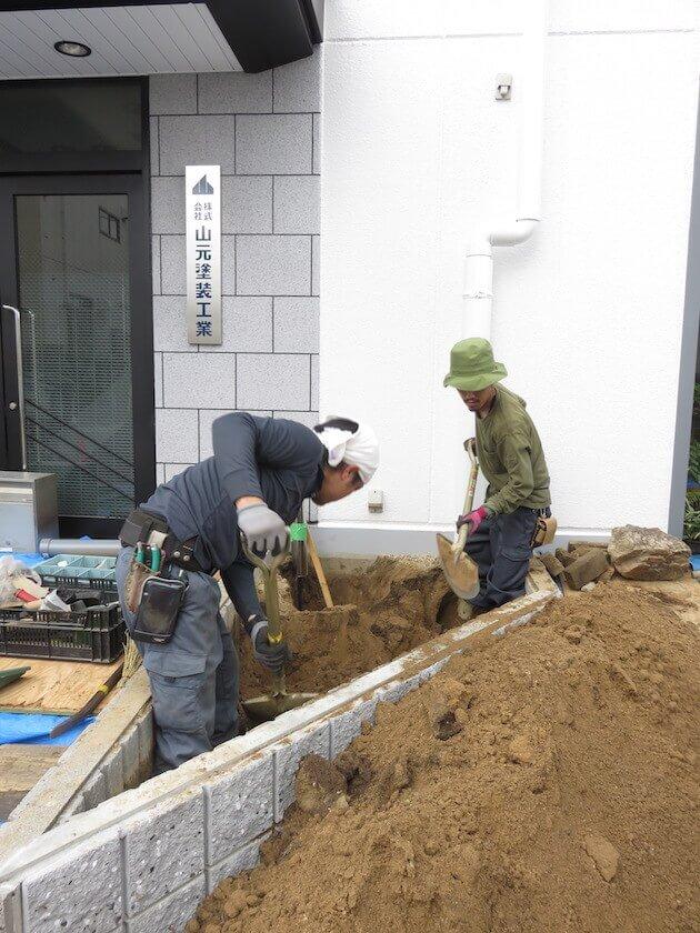 ①植栽に適した土に改良