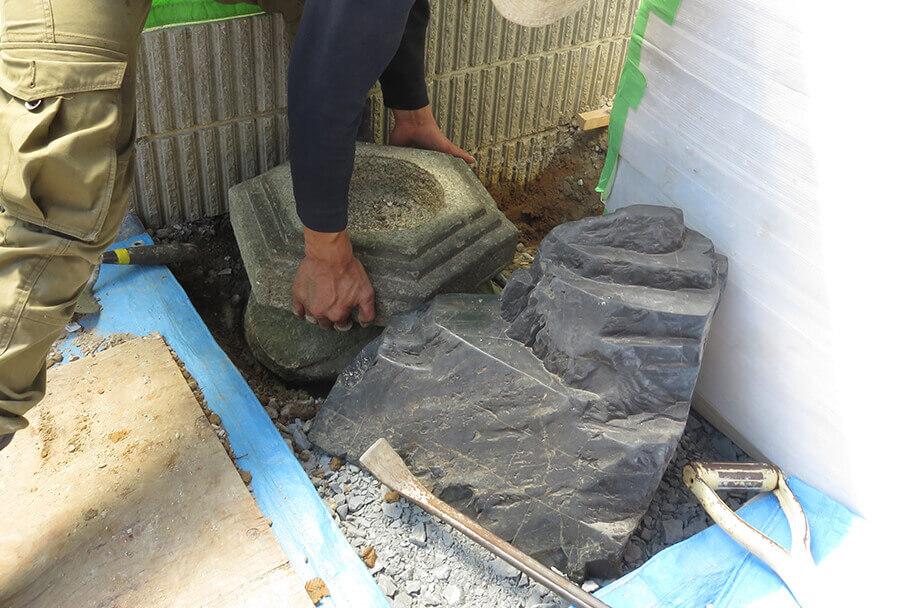 刀掛石設置作業